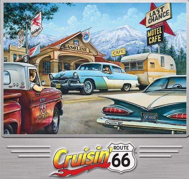 cruisin on the road 1000 piece puzzle Classic cars