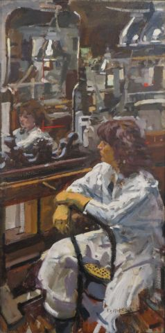 Dora in the studio - Ken Howard RA