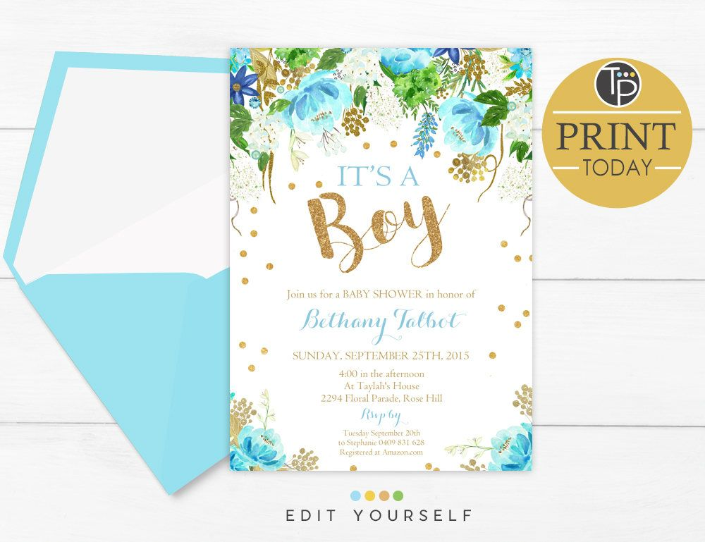 BOY Baby Shower Invitations, Blue Floral Baby Shower Invitation ...