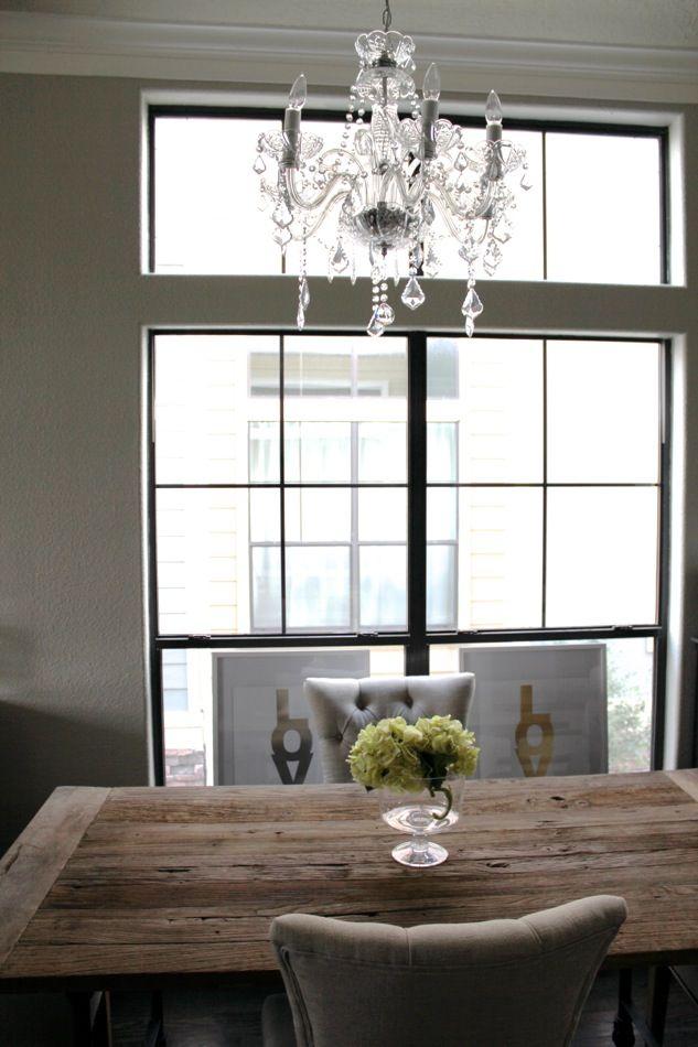 Restoration hardware dining room table love mixing formal for Formal dining room chandelier
