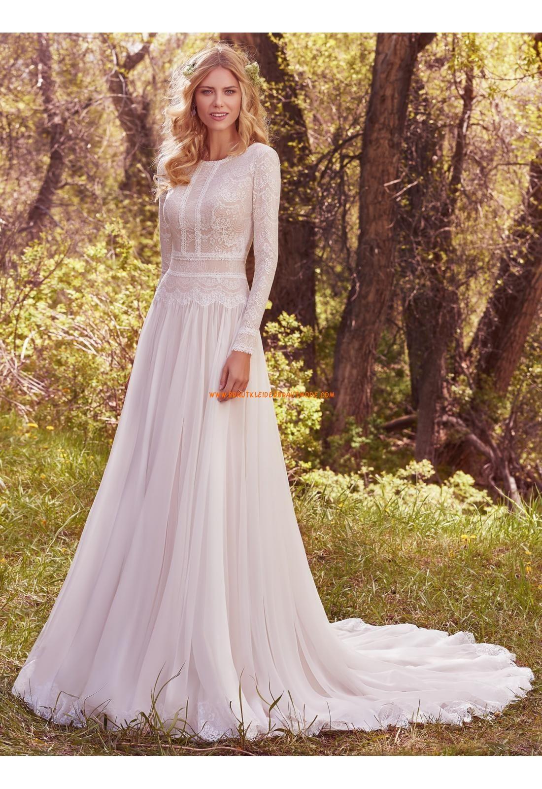 A-linie Glamouröse Romantische Brautkleider aus Chiffon mit Spitze ...