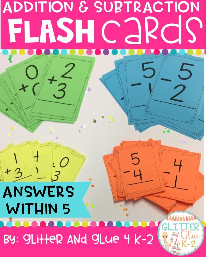 Addition and Subtraction Flashcards: Answers Within 5 | Math facts ...