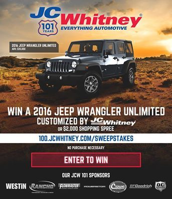 Enter The JC Whitney 101 Sweepstakes And Get A Chance To Win A 2016 Jeep  Wrangler