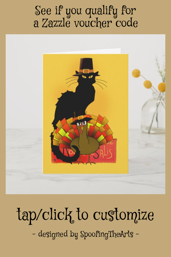 Thanksgiving Le Chat Noir With Turkey Pilgrim Holiday Card Zazzle Com Holiday Design Card Custom Holiday Card Holiday Cards
