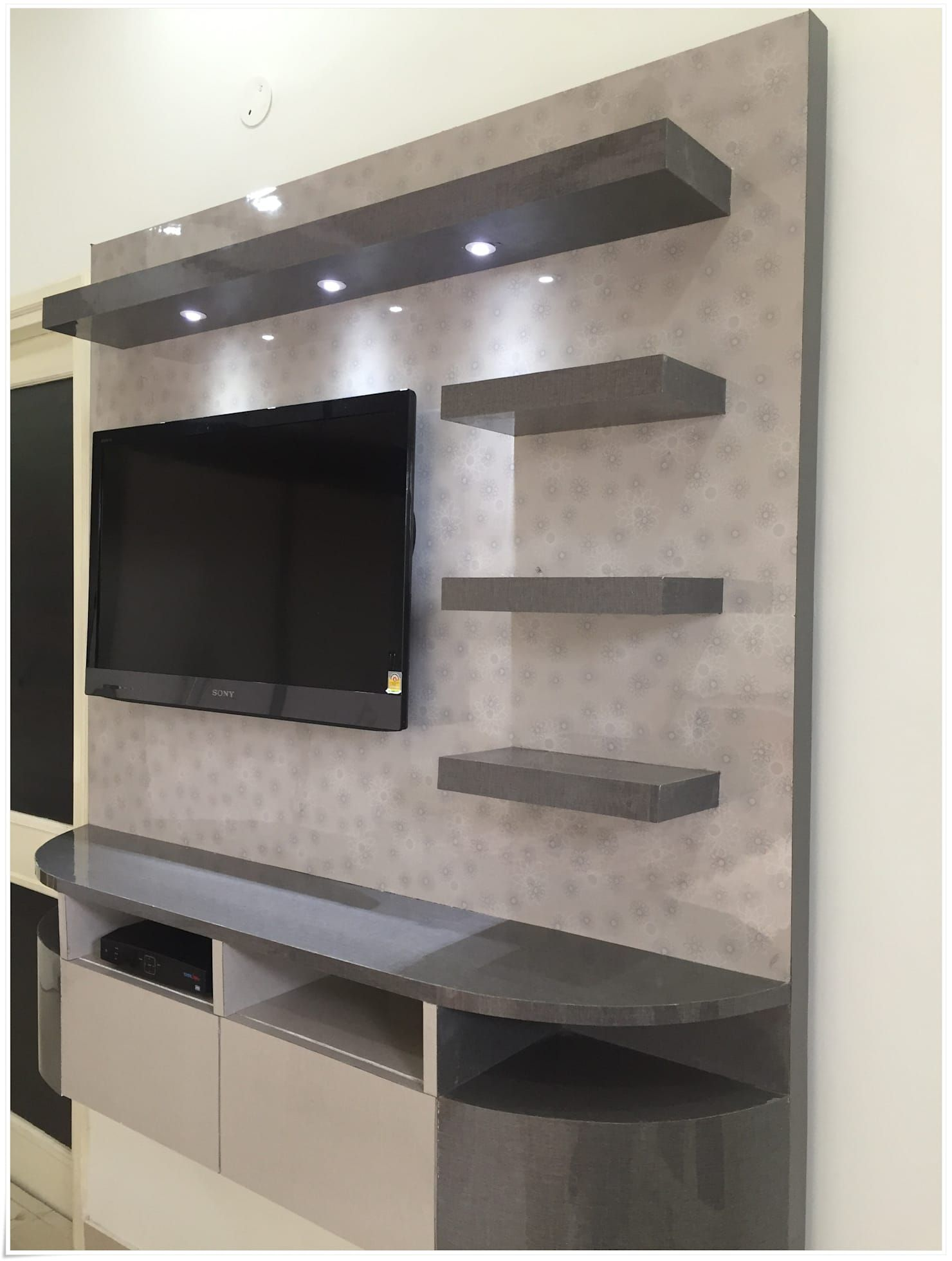 Tv unit in common bedroom u and i designs modern style bedroom