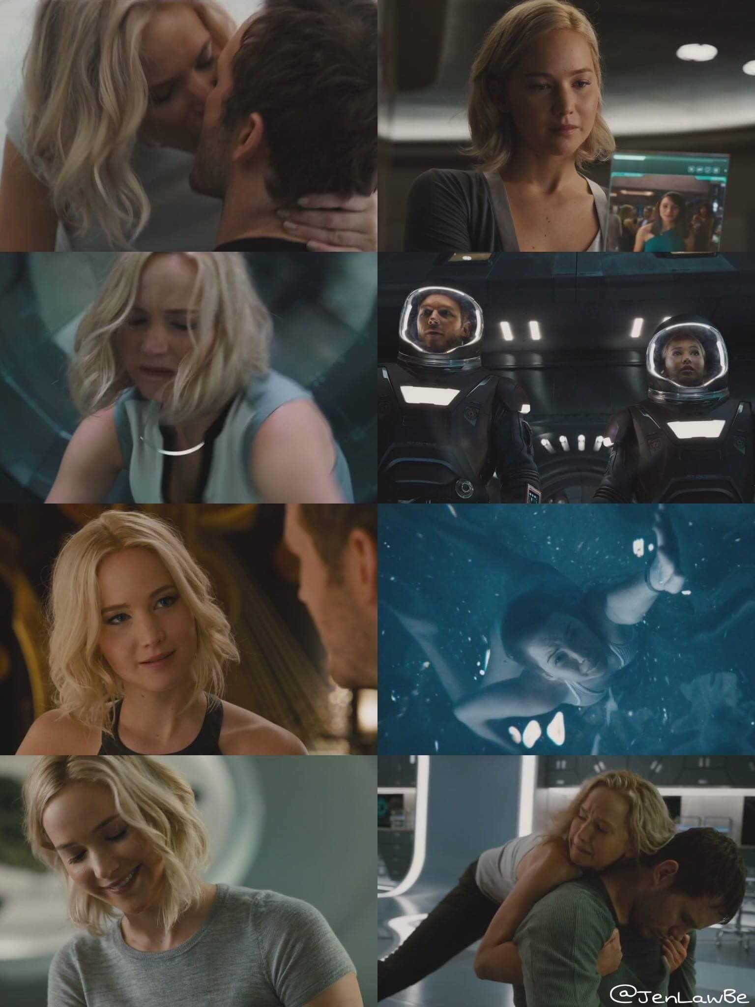 Jennifer Lawrence as Aurora Dunn in Passengers.