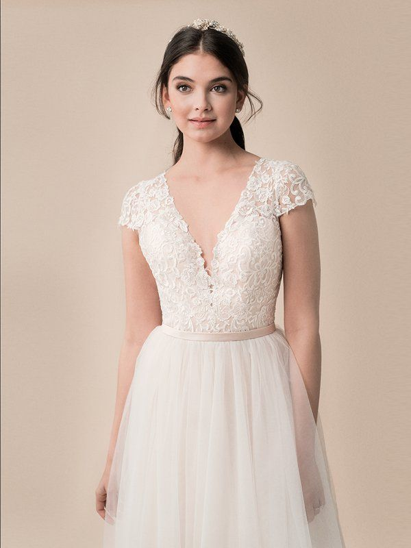 Short Sleeve Wedding Ball Gown Moonlight Tango T790 Short Sleeve