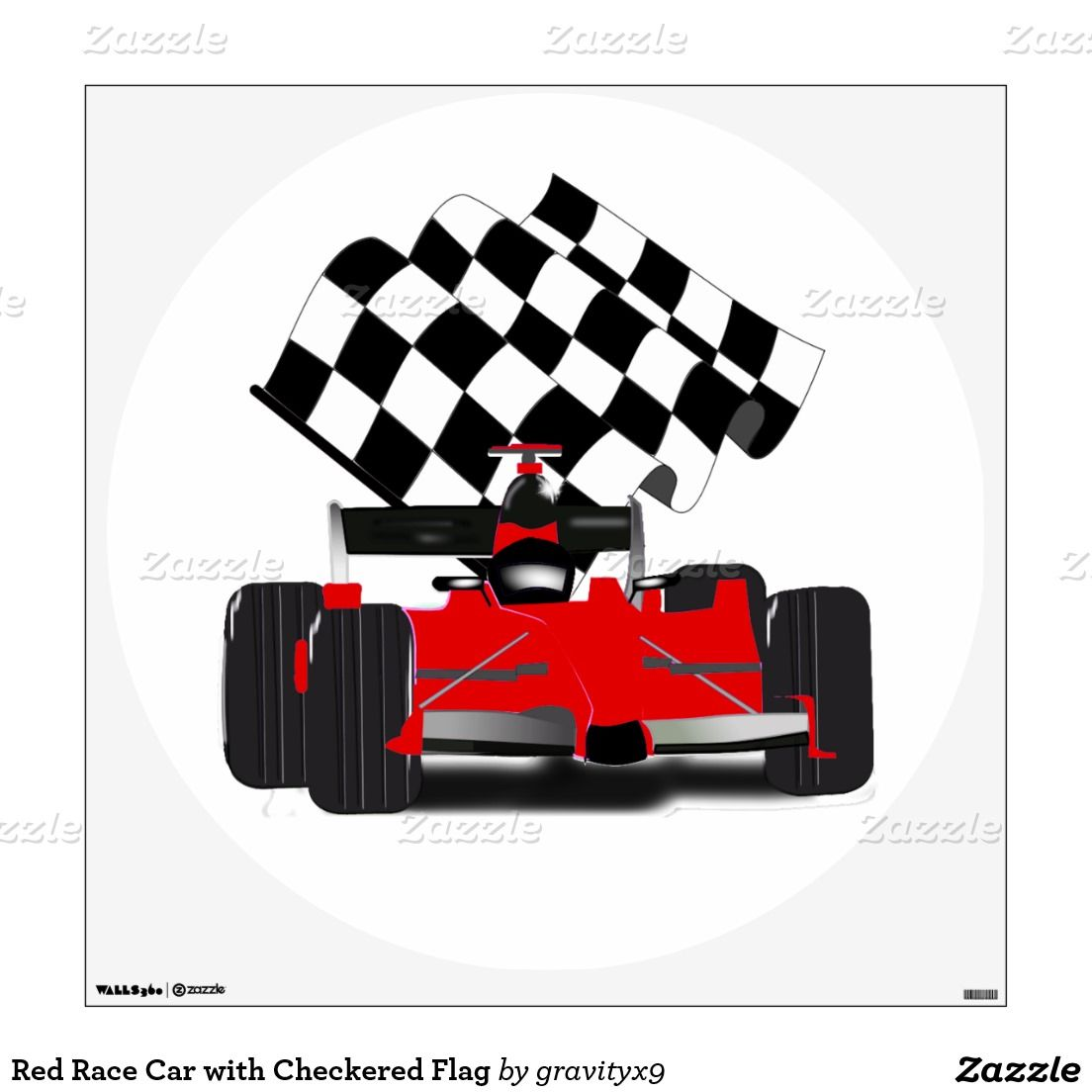 Red Race Car With Checkered Flag Wall Decal Zazzle Com Red Race Checkered Flag Room Decals [ 1104 x 1104 Pixel ]