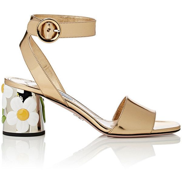87f7420e0a8 Prada Women s Floral-Appliquéd Sandals ( 499) ❤ liked on Polyvore featuring  shoes