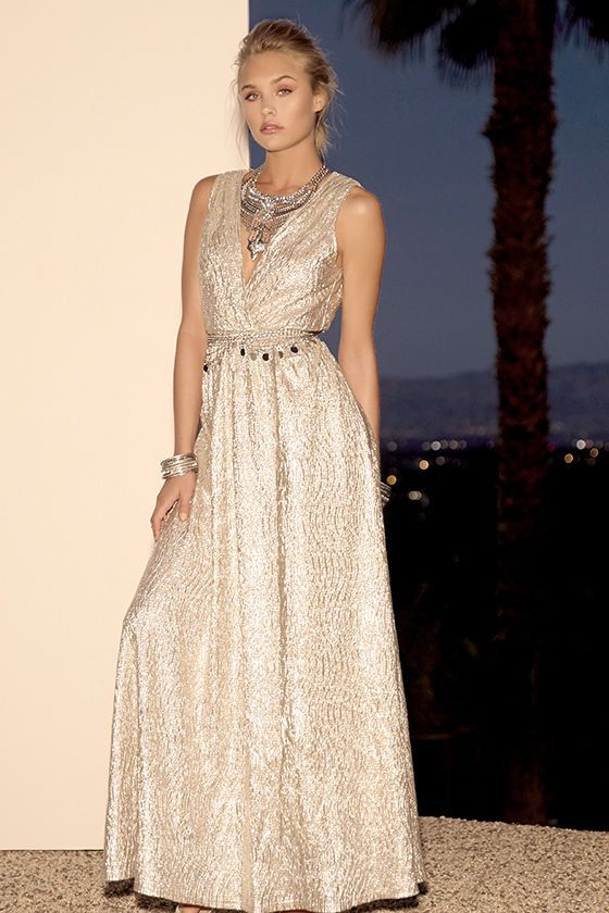 All that Shimmers is Gold Light Gold Maxi Dress | Maxi dresses ...