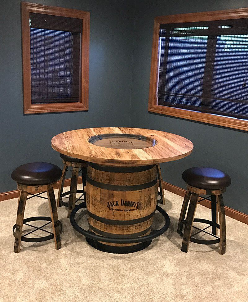 Jack Daniels Whiskey Barrel Pub Table W 4 Swivel Bar Stools Wine