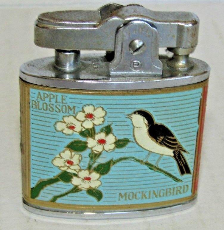 Vintage Lighter By Penguin With Arkansas Apple Blossom Mockingbird Works Nice