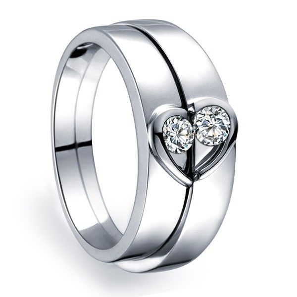 inexpensive heart shape couples matching wedding band rings on silver - Wedding Band Rings