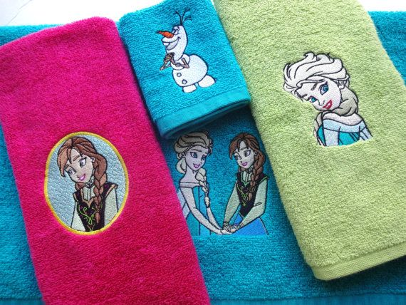 Ready To Ship Anna And Elsa Girls Bathroom Towels