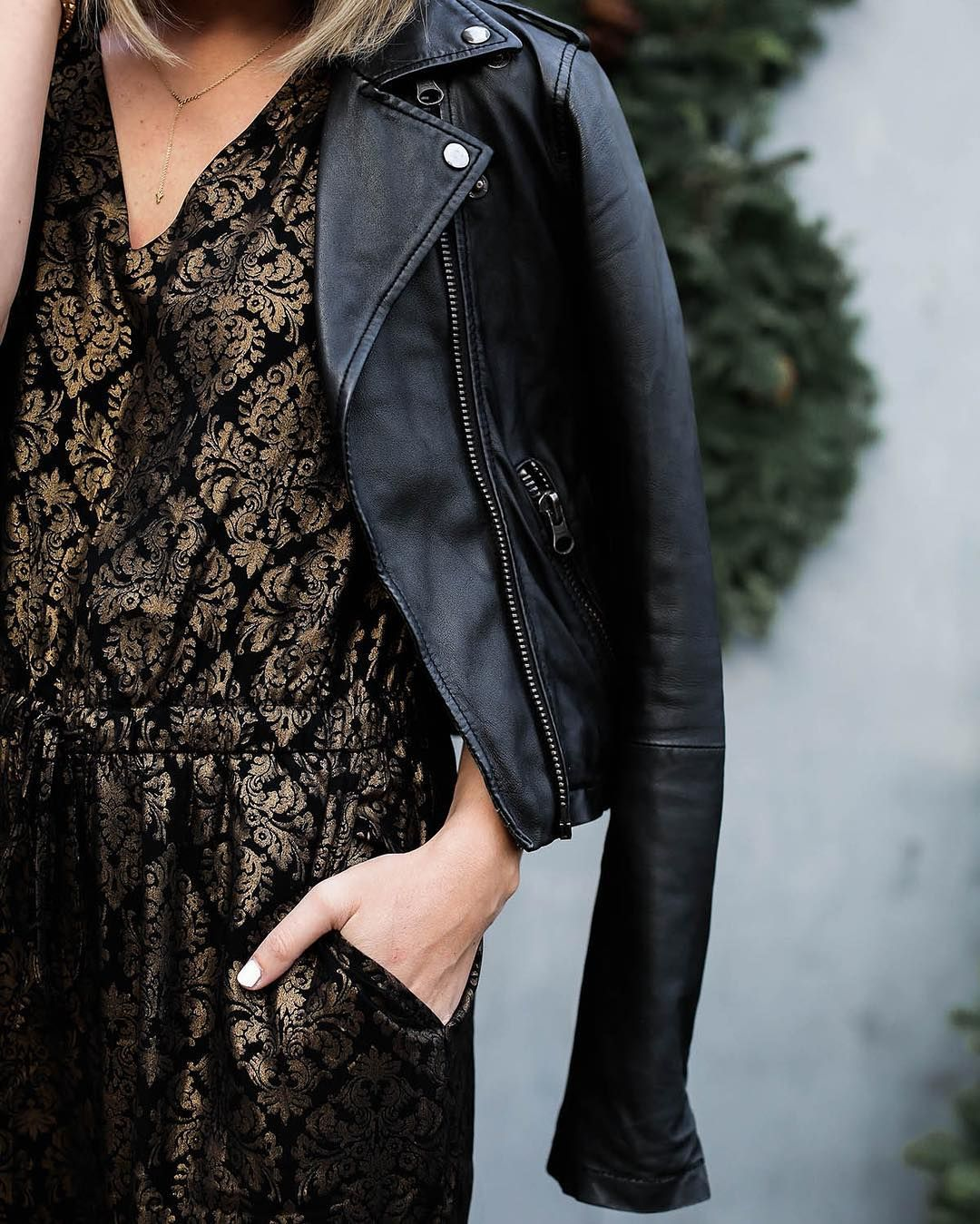 jumpsuit and leather jacket