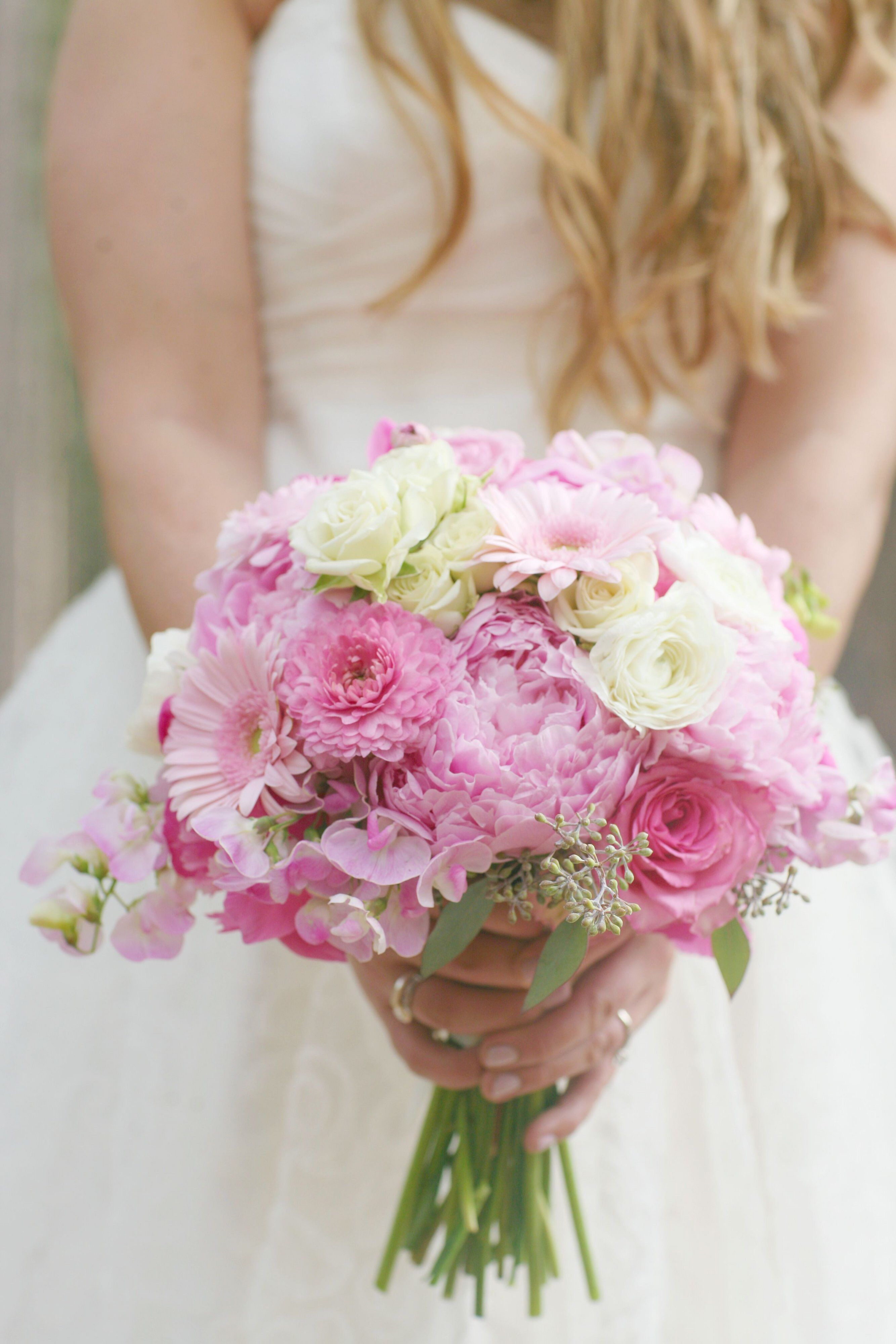 Pink bridal bouquet - wedding flowers for spring or summer wedding ...