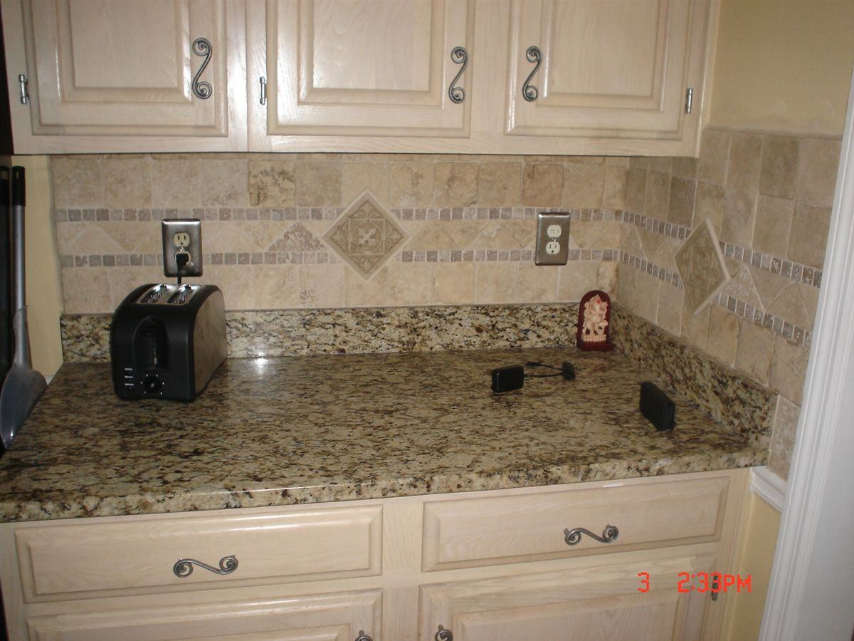 square tile backsplash and white laminate ki description from