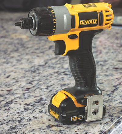 Dewalt 12v Max Lithium Ion Cordless Screwdriver Dcf610s2 Standing Up Angled View Dewalt Screwdriver Cordless