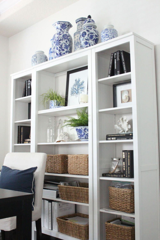 Blue And White In The Study White Bookshelf Decor Shelf Decor Living Room Blue Home Offices