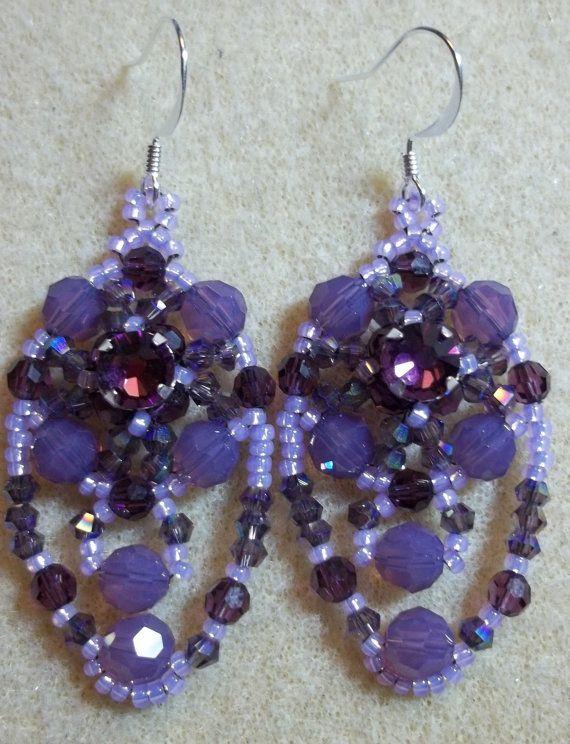 KIT Dramatically Draped Earrings Purple by offthebeadedpath, $25.00