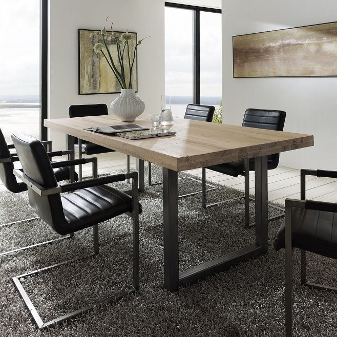 Textured Up Close Treviso Solid Oak Metal Dining Table