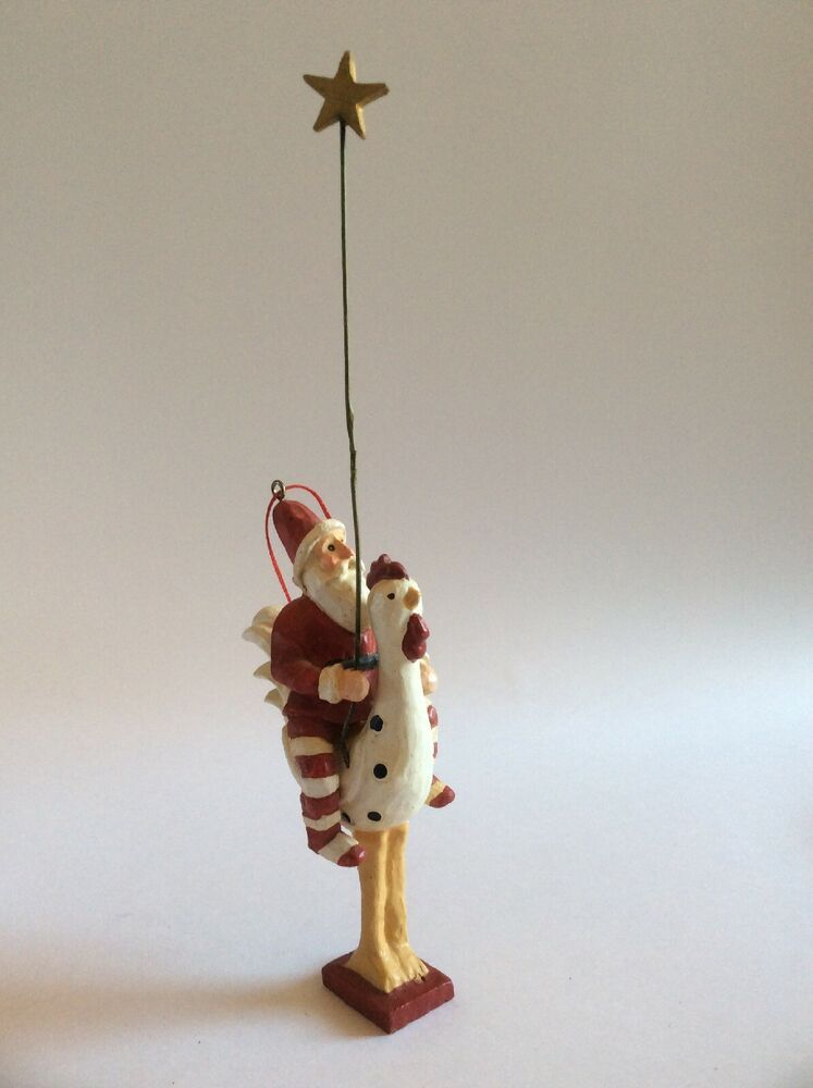 Santa Riding Chicken With Star Rod Weird Christmas Ornament Christmas Ornaments Old World Christmas Christmas Tree Toppers Lighted