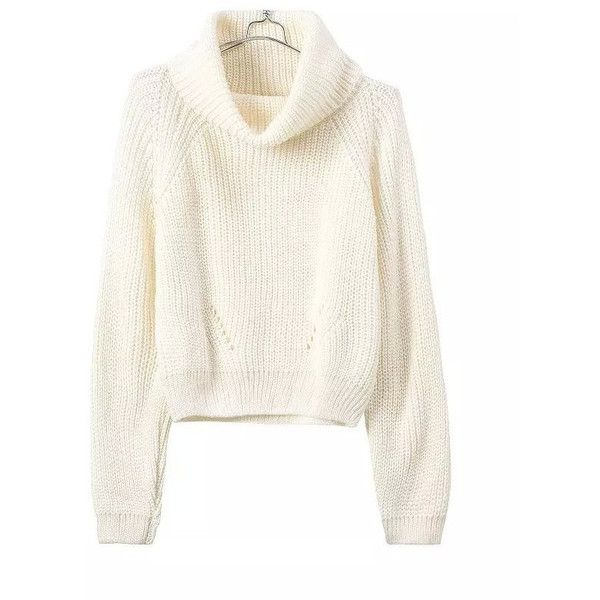 Cream Cropped Turtleneck Soft Sweater ($34) ❤ liked on Polyvore ...