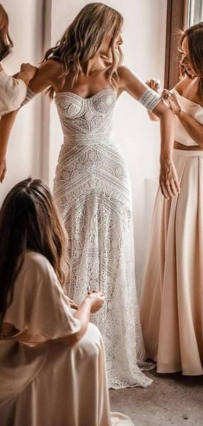 Ivory Lace Strapless Boho Beach Wedding Dresses, AB1530 #bohoweddingdress