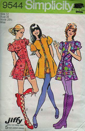 Vintage 1970 S Simplicity Mini Dress And Hot Pants 70s Mini Dress Vintage Sewing Patterns Vintage Outfits