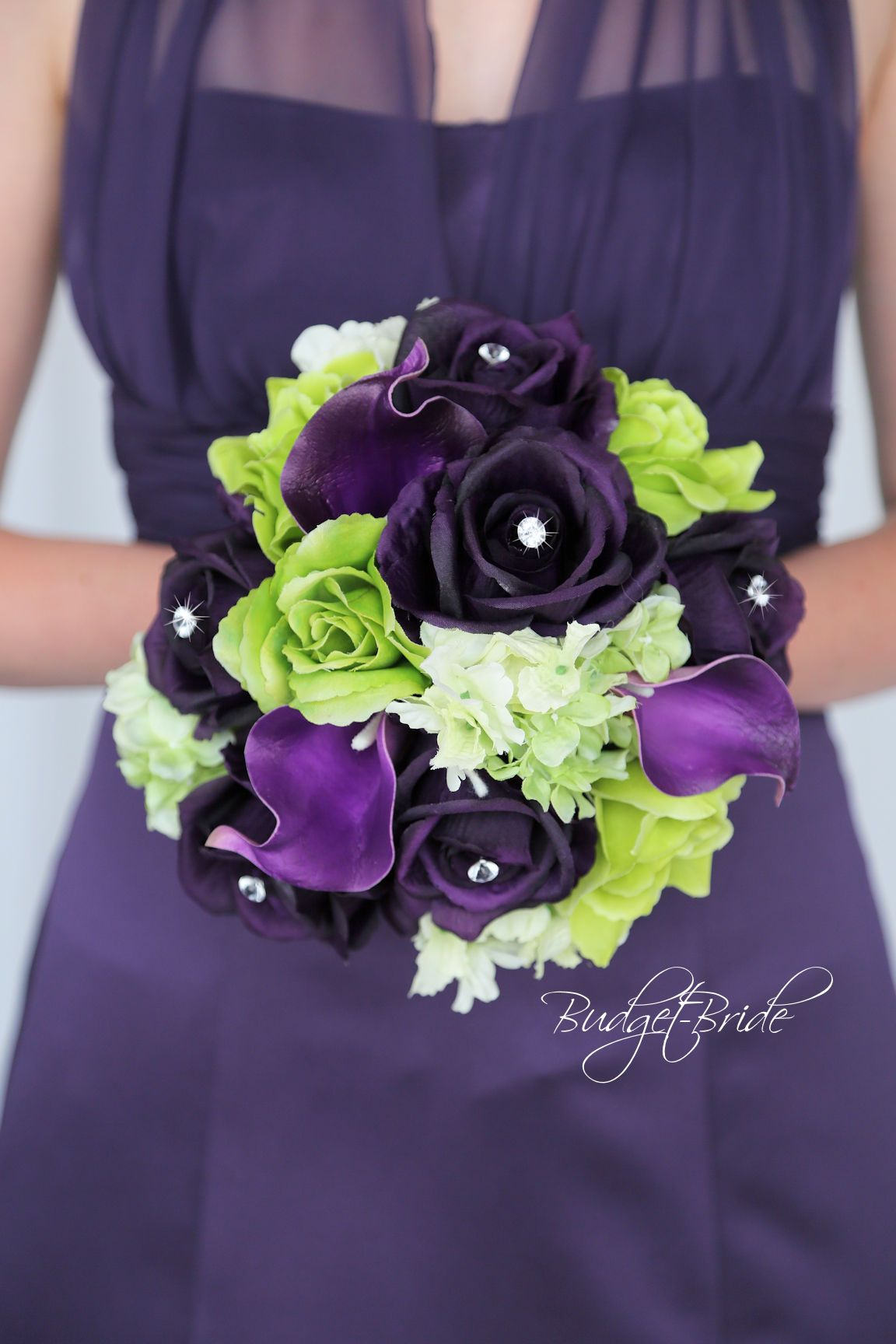 Davids Bridal Regency Purple And Bright Green Wedding Bouquet With