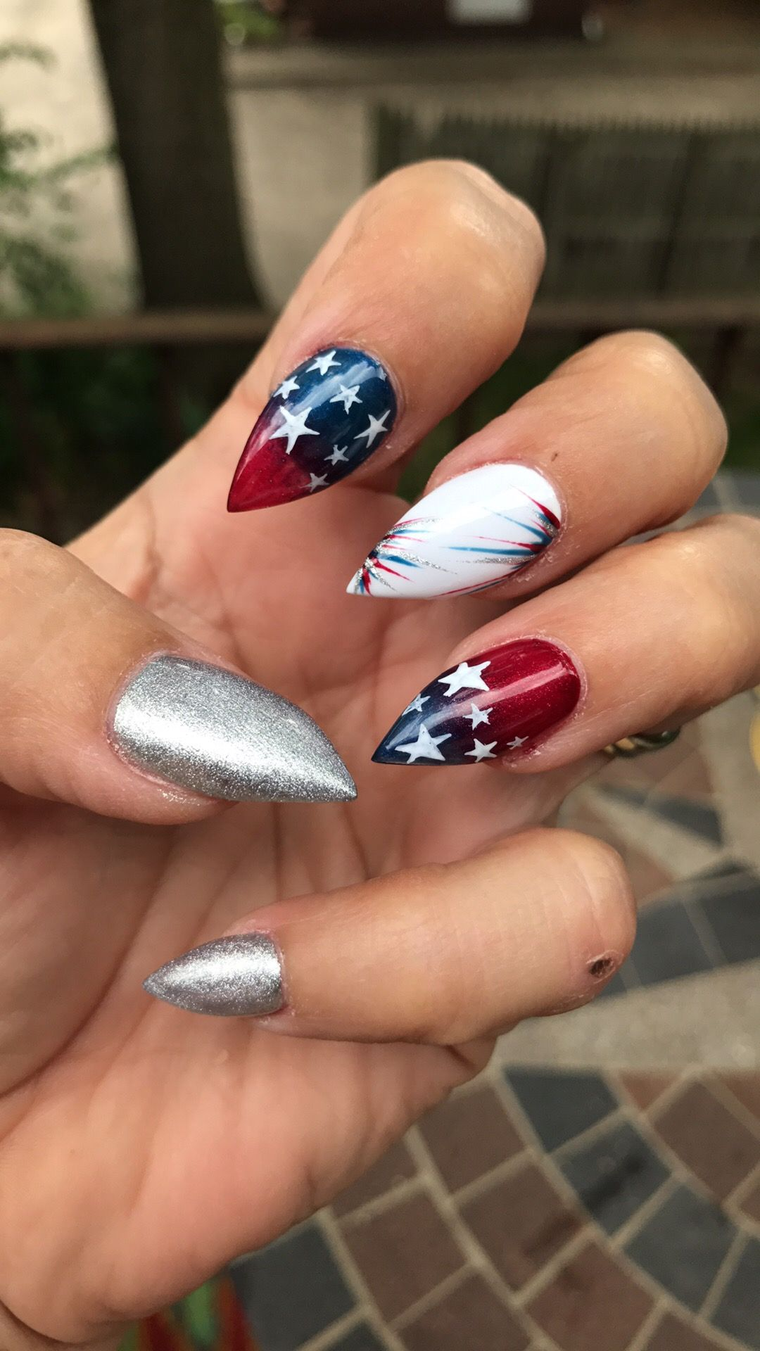 Red Blue Star Design Only Not Pointy Nails Pointy Nails Red Nail Designs Red Nails