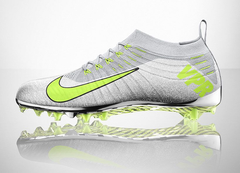 e51574df92b today NIKE s flyknit technology entered the gridiron with the NIKE vapor  ultimate football cleat.