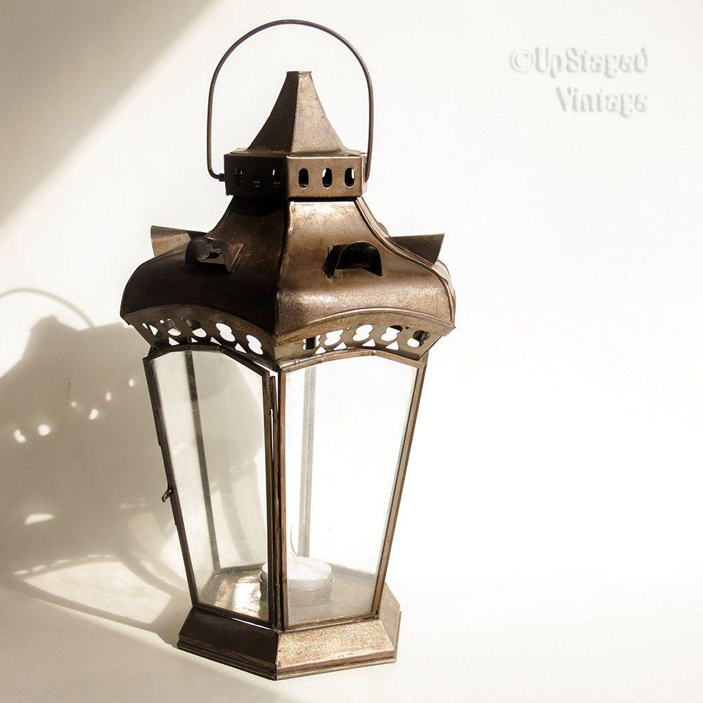 Indian Vintage Style Lantern Hanging Glass Tea Light Candle Holder By Upstagedvintage On Etsy Tealight Candle Holders Glass Tealight Tea Light Candle