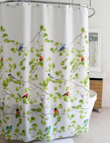 Splash Design Ivy Birds Terrase Shower Curtain Bedbathhome Com Fabric Shower Curtains Shower Curtain Polyester White Shower Curtain