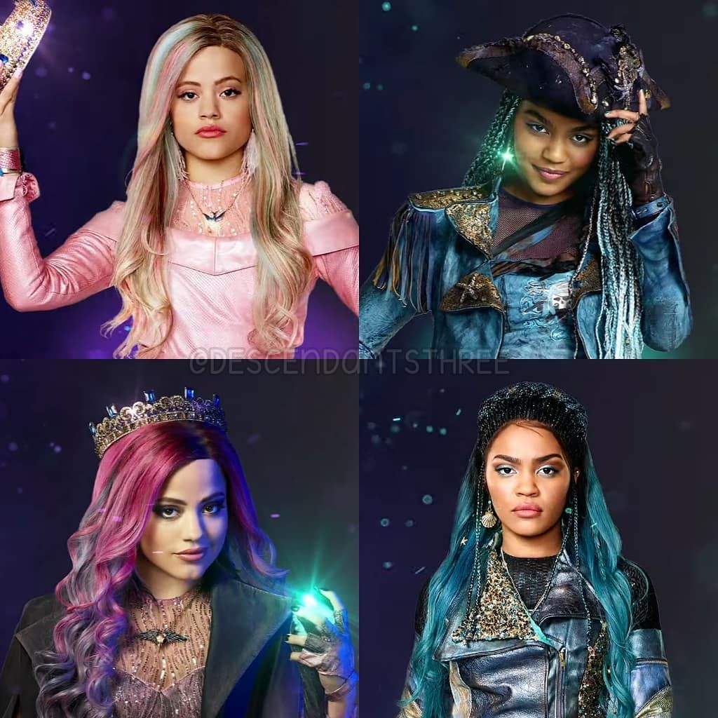 "Disney's Descendants 3 on Instagram: ""Audrey and Uma: before and after. �� #audrey #sarahjeffery #queenofmean #uma #chinamcclain #whatsmyname #descendants #descendants2…"""