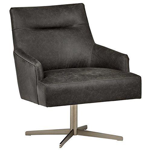Rivet Zane Mid Century Modern Swivel Top Grain Leather