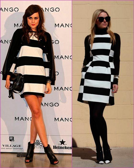 Vestidos con rayas blancas y negras