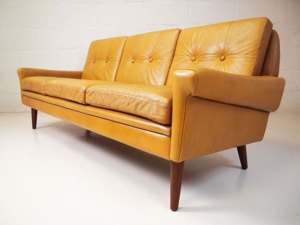 French Vintage Side Table Mid Century Leather Sofa Leather Sofa