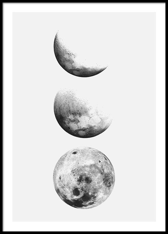 Moon Phase Affiche Affiche Tableau Noir Et Blanc Desenio Et