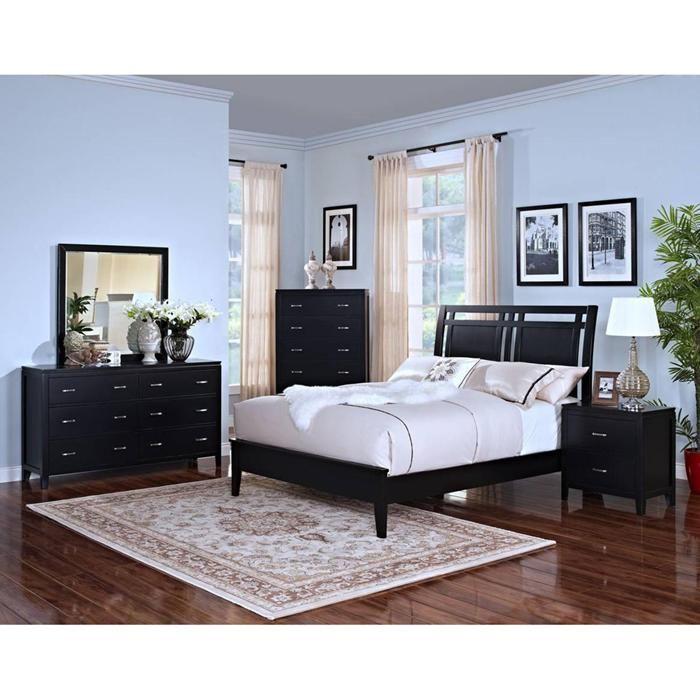 Bedroom Sets Sacramento selena 4-piece queen bedroom set in black | nebraska furniture