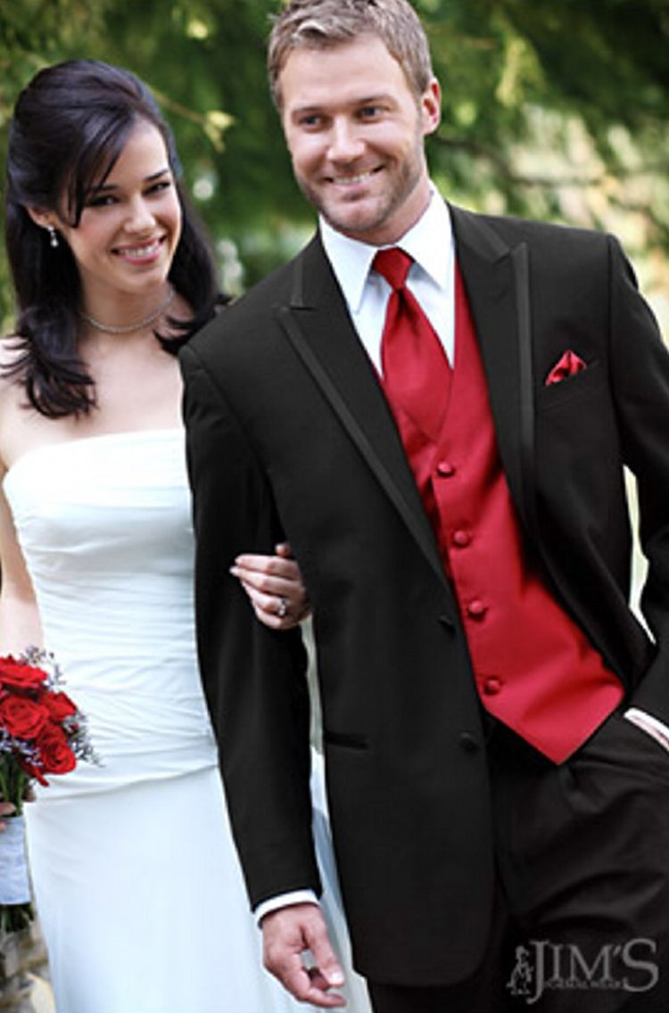 Red Makes A Bold Accent Against Black Tux For Winter Wedding Change