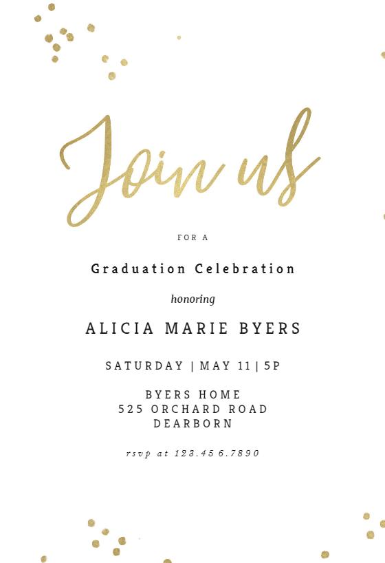 Minimal Confetti Graduation Party Invitation Template
