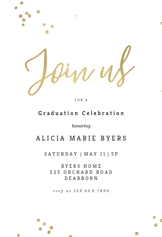 Minimal Confetti Graduation Party Invitation Template Free Greetings Island Graduation Party Invitations Templates Graduation Invitations Template Graduation Party Invitations
