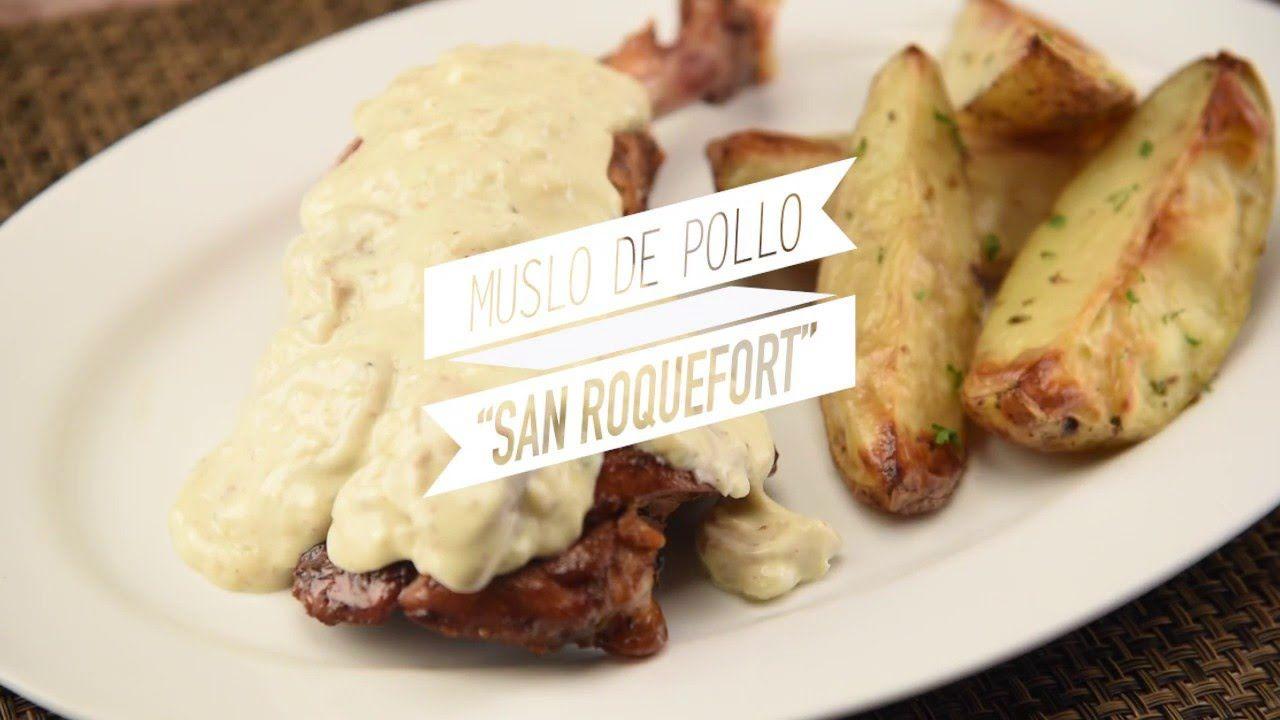 Como hacer muslos de pollo al Roquefort o queso azul - YouTube