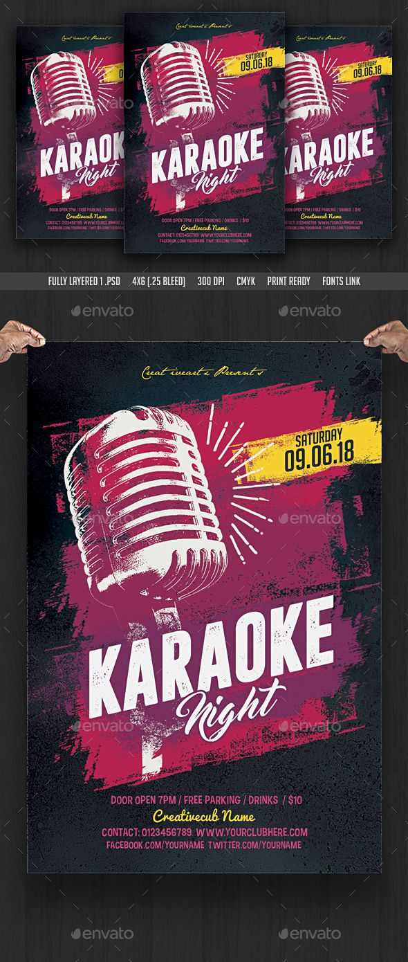 Karaoke Night Flyer  Karaoke Flyer Template And Party Flyer