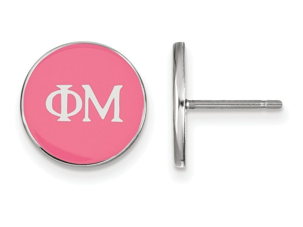 LogoArt Sterling Silver Phi Mu Enameled Post Earrings
