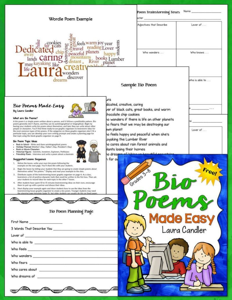 Free Bio Poems Made Easy Laura Candler 39 S Freebies