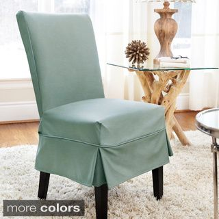 Shop For Twill Mid Pleat Relaxed Fit Dining Chair Slipcover With Buttons Free Shipping
