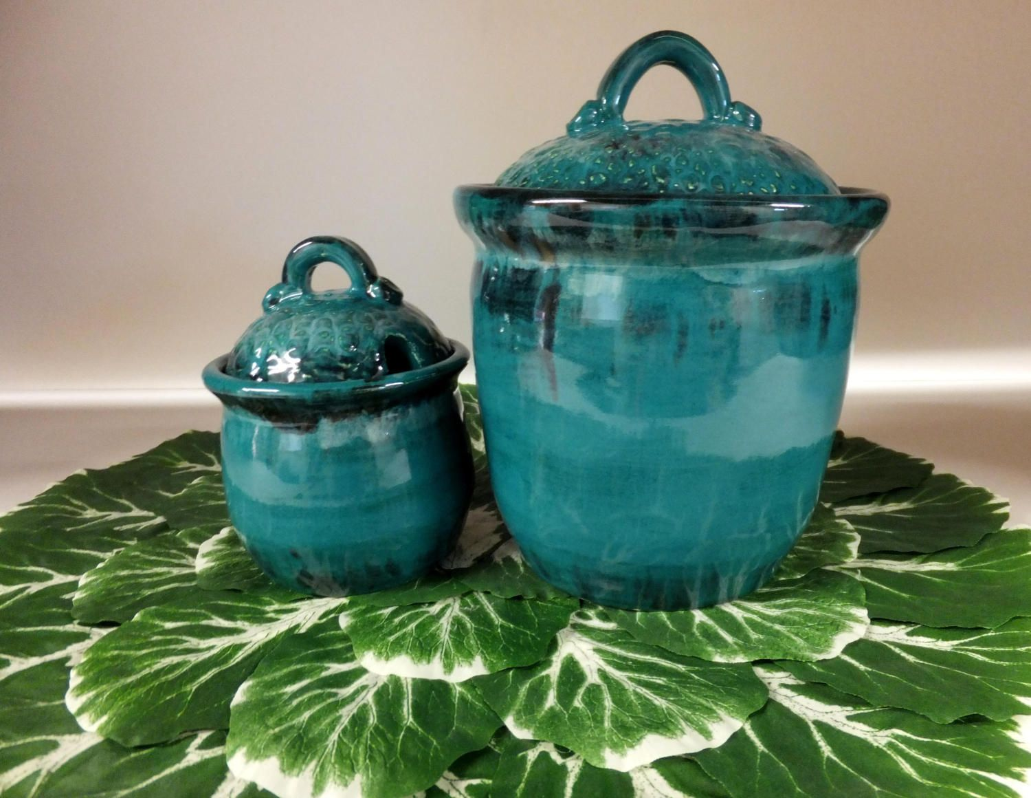 Turquoise Kitchen Canister Set, Handmade Stoneware Pottery, Coffee ...