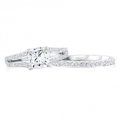BIRKS AMORIQUE Platinum split-shank pavé Canadian diamond engagement ring | Maison Birks